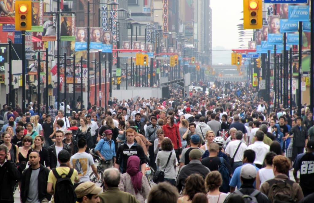 Pedestrians on Yonge Street in Toronto